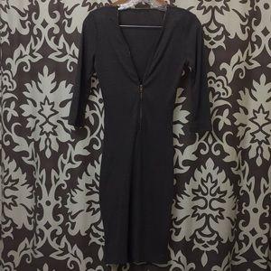 Dresses & Skirts - Gray ribbed zip up dress